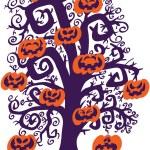 Halloween tree with orange pumpkins — Stock Vector #44807641