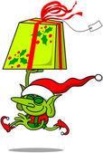 Santa helper Elf running — Stock Vector