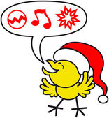 Joyful yellow chicken — Stock Vector