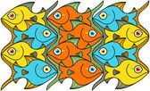 Yellow, orange and blue fishes — Vector de stock