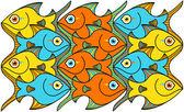 Peixes amarelo, laranja e azul — Vetorial Stock