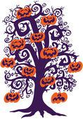 Halloween tree with orange pumpkins — Stock Vector