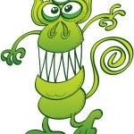 Постер, плакат: Green monkey like monster with three eyes