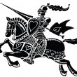 Jousting knight wearing hearts — Vector de stock