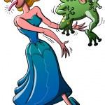 Постер, плакат: Beautiful princess kissed an ugly toad