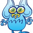 Cute little blue monster — Stock Vector