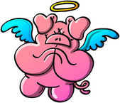 Pig with angel wings — Stock Vector