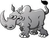 Furious gray rhinoceros — 图库矢量图片