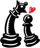 Black pawn declaration of love to his queen — Stock Vector