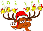 Nice deer with red Santa hat — Stock Vector