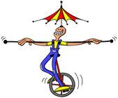 Circus acrobat grinning — Stock Vector