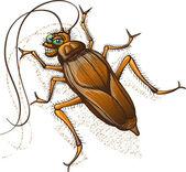 Disgusting brown cockroach — Stock Vector