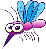 Cute purple mosquito — Stock Vector