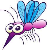 Cute purple mosquito — Stock Vector