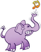 Purple elephant  making musical note — Cтоковый вектор