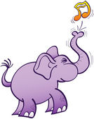 Purple elephant  making musical note — Vettoriale Stock