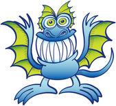 Weird blue monster — Stock Vector