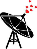 Telecommunications antenna emitting red hearts — Stock Vector