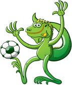Cool Grüner Leguan mit Fußball — Stockvektor