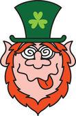 Leprechaun making a funny face — Stock Vector
