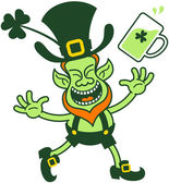 Euphoric Leprechaun Celebrating — Stock Vector