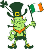Proud Leprechaun Waving an Irish Flag — Stock Vector