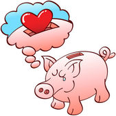 Piggy bank dreaming of red hearts — Stock Vector