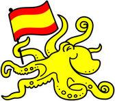 Octopus waving a flag — Stock Vector