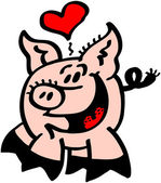 Heart floating above pigs head — Stock Vector