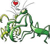 Big and threatening female praying mantis — Stock Vector