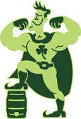 Poderoso superhéroe verde — Vector de stock