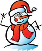 Snowman  doing crazy eyes — Stock Vector