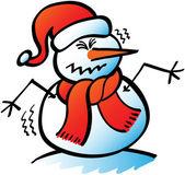 Christmas snowman shivering — Stock Vector