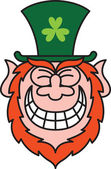 Leprechaun grinning naughtily — Stock Vector
