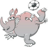 Rhino with  soccer ball — Stock Vector