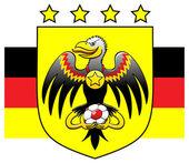 Black eagle holding a soccer ball — Stock Vector