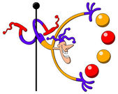 Cool harlequin-like circus man juggling — Stock Vector