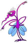 Funny fuchsia mosquito with bulging eyes — Stock Vector