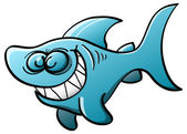 Little blue shark with big fins — Stock Vector