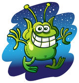 Funny green alien with bulging eyes — Stock Vector
