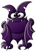Cute little bat with purple fur — Stock Vector