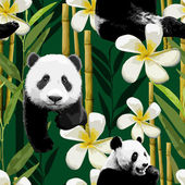 Pattern of the panda and flowers — Stock Vector