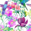 Exotic flowers and birds — Stock Photo #45369641