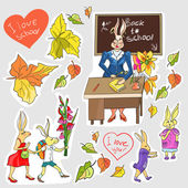 Rabbits go to school — Stock Vector