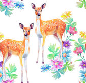 Artwork deers and flowers — Stock Photo