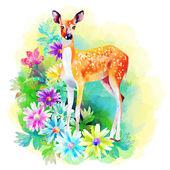 Artwork deer and flowers — Stock Photo