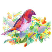 Bird, berries, flowers and leaves — Stock Photo