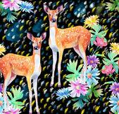 Artwork deers and flowers — Foto de Stock