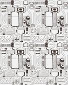 Pattern of stylized bottles — Stock Vector