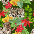Постер, плакат: Leopards and flowers